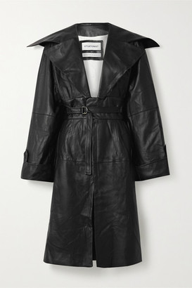 Situationist Belted Leather Coat - Black