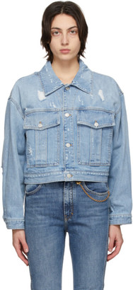 Givenchy Blue Denim Destroyed Short Jacket