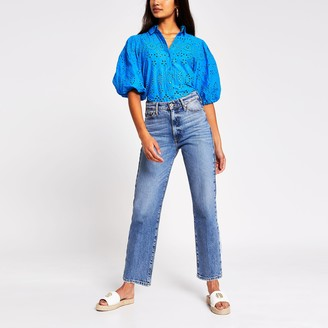 River Island Womens Bright Blue long sleeve broderie shirt