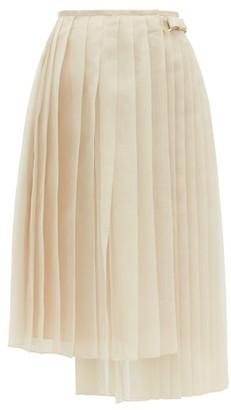 Fendi Buckled Asymmetric Pleated Silk-organza Skirt - Womens - Beige