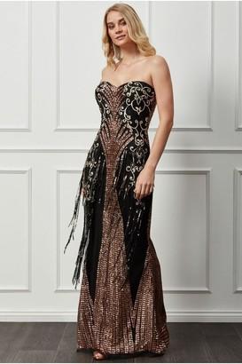Goddiva Sweetheart Sequin Fringe Maxi Dress - Champagne