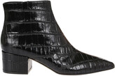 Thumbnail for your product : Sergio Rossi Embossed Pointed-Toe Ankle Boots