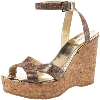 Jimmy Choo Brown Shimmering Leather Papyrus Cork Wedge Ankle Strap Sandals Size 40