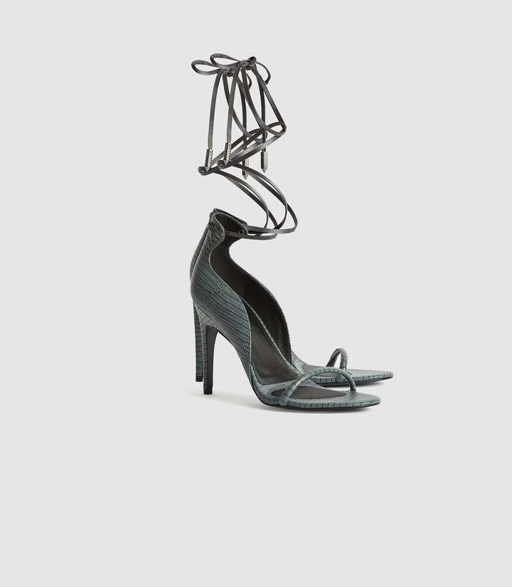 Thumbnail for your product : Reiss Coco - Leather Strappy Wrap Sandals in Grey
