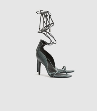 Reiss Coco - Leather Strappy Wrap Sandals in Grey
