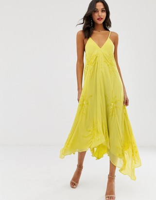Asos Edition EDITION floral embellished cami trapeze dress-Yellow