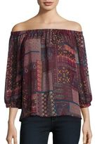 Romeo & Juliet Couture Mixed Print Off-the-Shoulder Top