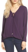 WAYF Women's Wrap Front Long Sleeve Blouse