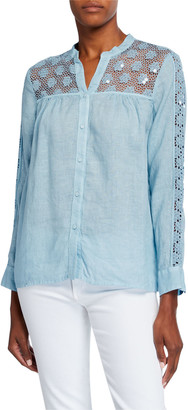 120% Lino Button-Down Linen Blouse w/ Floral Sequin Embroidered Front Yoke