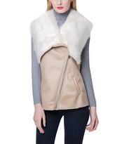 Beige Asymmetrical Faux Fur Vest