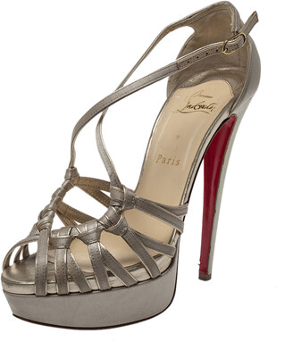 Christian Louboutin Beige Satin Knotted Strappy Platform Ankle Strap Sandals Size 39