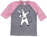 Urban Smalls Heather Gray & Pink Dabbing Unicorn Raglan Tee - Toddler & Girls