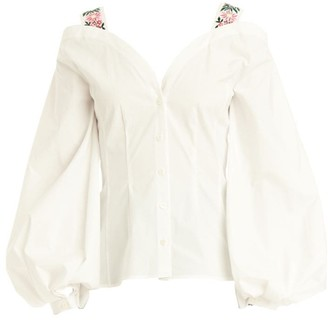 Carolina Herrera Puff-Sleeve V-Neck Floral-Embroidered Strap Shirt