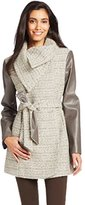 T Tahari Women's Alba Belted Tweed Coat with Faux-Leather Sleeves