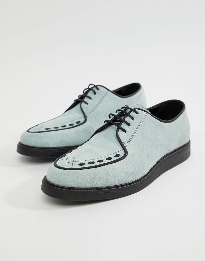 Asos DESIGN Lace Up Creeper Shoes In Light Blue Suede