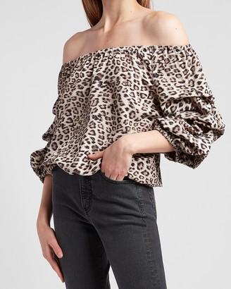 Express Leopard Off The Shoulder Top