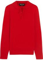 Vanessa Seward Dilly Ruffled Merino Wool And Silk-blend Sweater - Red