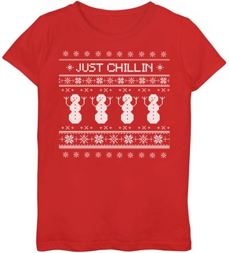 """Girls 7-16 """"Just Chillin"""" Fairisle Snowmen Graphic Tee"""