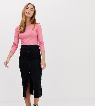 Asos DESIGN Petite rib popper midi skirt-Black