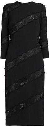 Dolce & Gabbana Diagonal Lace Inset Sheath Dress