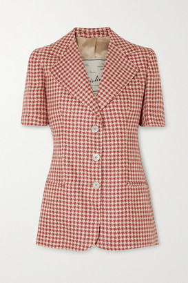 Giuliva Heritage Collection The Ginestra Houndstooth Linen Blazer - Red