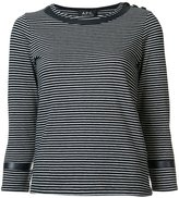 A.P.C. striped three-quarter sleeve top - women - Cotton/Polyester/Polyimide - S