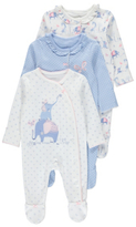 George 3 Pack Assorted Elephant Print Sleepsuits