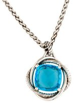 David Yurman Sterling Blue Topaz Infinity Cushion Pendant Necklace