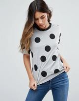 Asos Top In Polka Dot With Contrast Binding