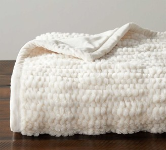 Pottery Barn Faux Fur Ivory Honeycomb Throw