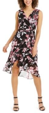 Connected Petite Floral-Print Flounce Dress