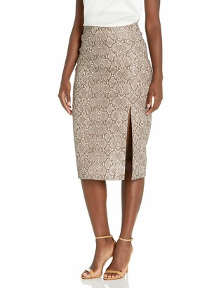 BCBGMAXAZRIA Women's Faux Leather Snake Skirt