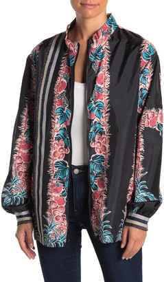 Anna Sui Tropical Fruit Medley Silk Moto Jacket