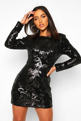boohoo Sequin Velvet Long Sleeve Bodycon Dress