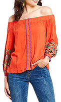 Gianni Bini Maura Embroidered Off the Shoulder Top