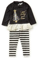 Rare Editions Little Girls 2T-6X Christmas Tree A-Line Dress & Striped Leggings Set