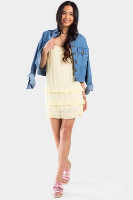 francesca's Karli Ruffle Shift Dress - Yellow