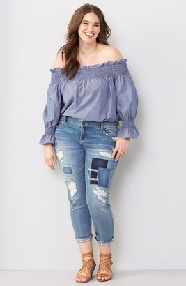 SLINK Jeans Ripped & Patched Boyfriend Jeans