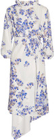 Vetements Asymmetric Floral-print Stretch-crepe Wrap Dress - White
