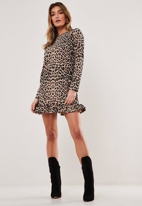Missguided Stone Leopard Frill Long Sleeve Shift Dress
