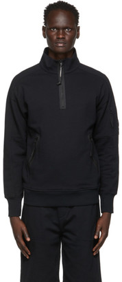 C.P. Company Black Garment-Dyed Quarter Zip Sweatshirt