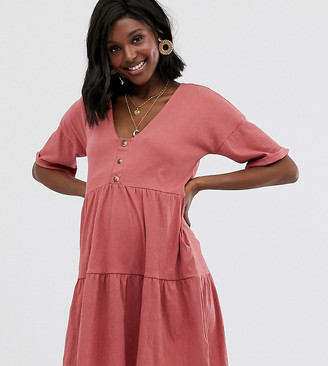 Asos DESIGN Maternity textured button through smock dress with tiered skirt-Pink