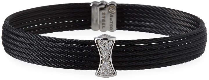Alor Noir Multi-Row Bangle w/ White Diamond Pave, Black