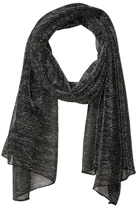 Steve Madden Mini Metallic Pleated Wrap (Black) Scarves