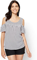 New York & Co. Ruffled Cold-Shoulder Blouse - Stripe