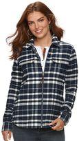 Chaps Women's Full-Zip Plaid Flannel Shirt