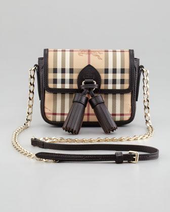 Burberry Haymarket Check Mini Chain Crossbody Bag