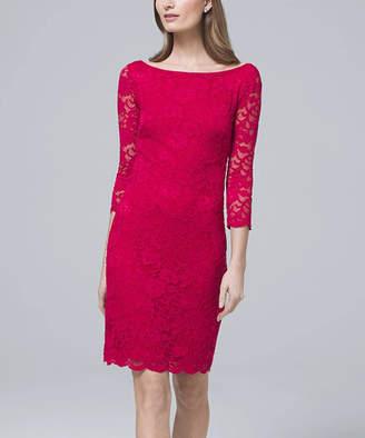 White House Black Market Women's Casual Dresses Pink - Pink Thrill Lace Three-Quarter Sleeve V-Back Sheath Dress - Women