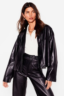 Nasty Gal Womens Into the Swing of Things Faux Leather Jacket - Black - S, Black