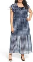 London Times Ruffle Sleeve Chiffon Maxi Dress